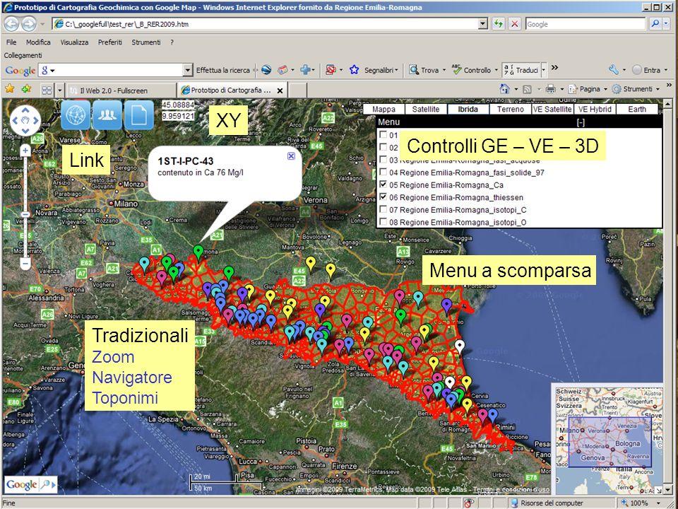 Menu a scomparsa Controlli GE – VE – 3D Link XY Tradizionali Zoom Navigatore Toponimi