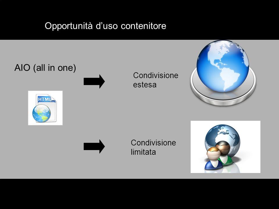 Opportunità duso contenitore AIO (all in one) Condivisione estesa Condivisione limitata