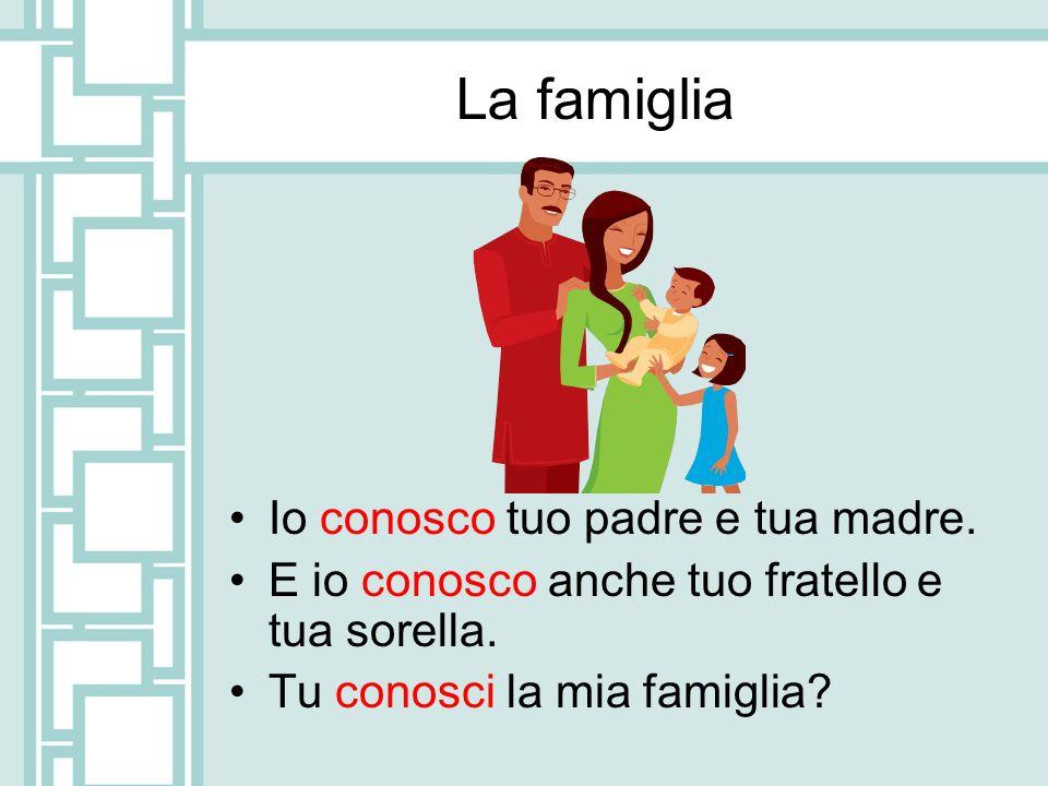 La famiglia Io conosco tuo padre e tua madre. E io conosco anche tuo fratello e tua sorella. Tu conosci la mia famiglia?