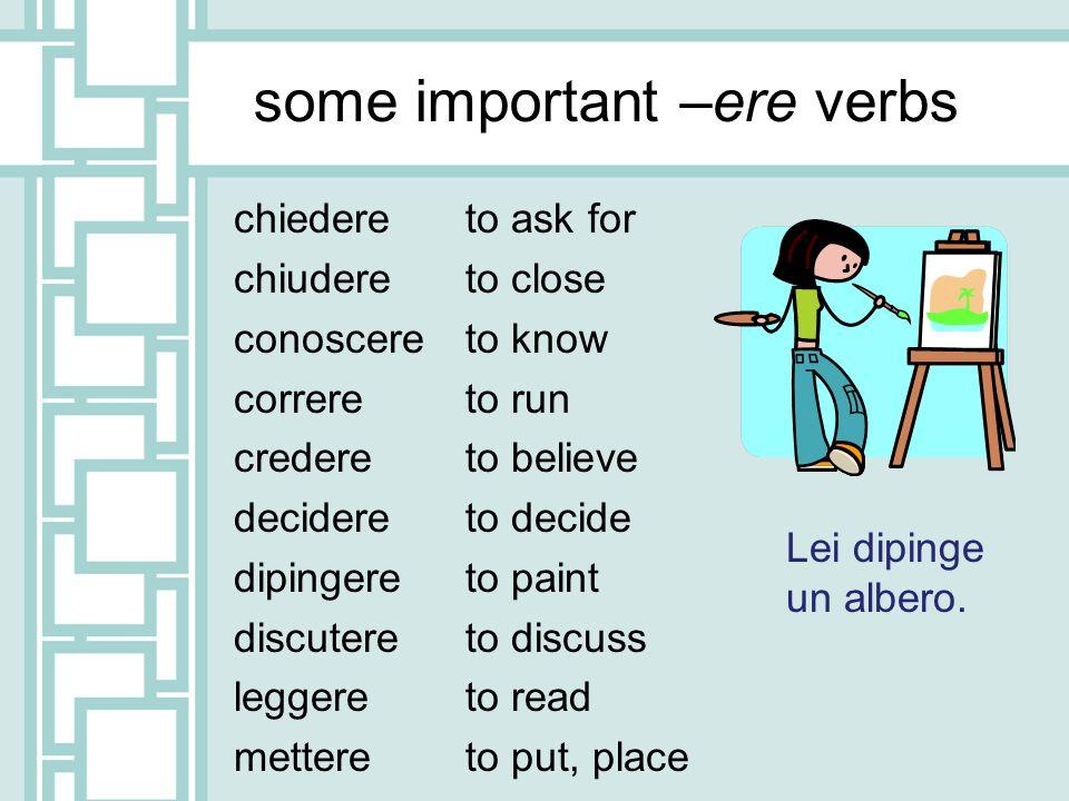 some important –ere verbs chiedere chiudere conoscere correre credere decidere dipingere discutere leggere mettere to ask for to close to know to run