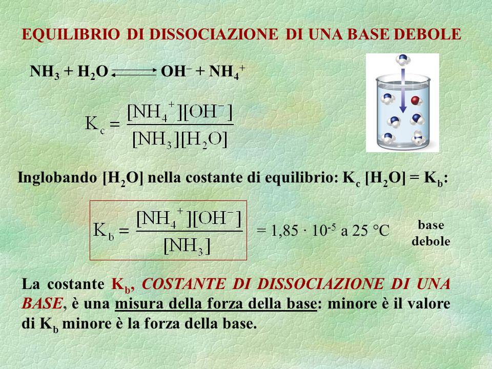 NH 3 + H 2 O OH – + NH 4 + Inglobando [H 2 O] nella costante di equilibrio: K c [H 2 O] = K b : EQUILIBRIO DI DISSOCIAZIONE DI UNA BASE DEBOLE La cost