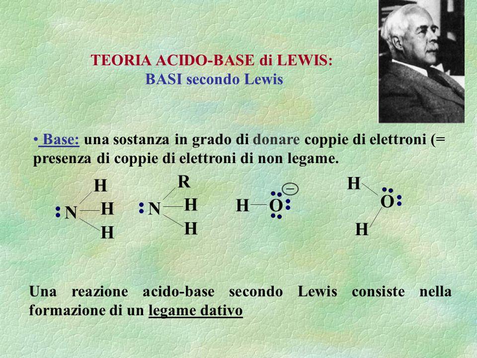 Base: una sostanza in grado di donare coppie di elettroni (= presenza di coppie di elettroni di non legame. TEORIA ACIDO-BASE di LEWIS: BASI secondo L