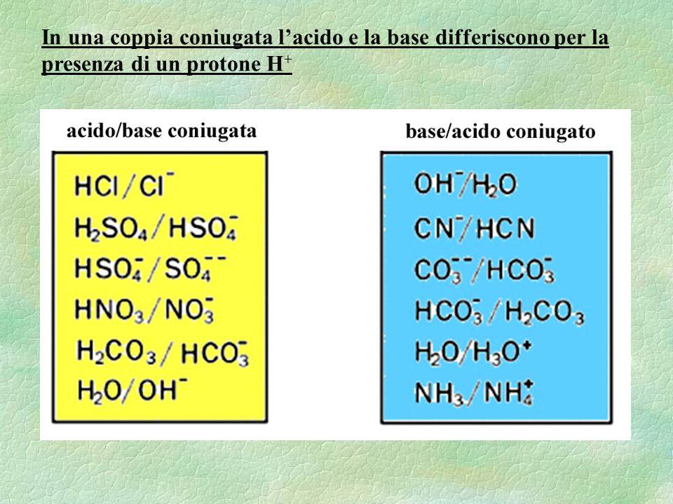 In una coppia coniugata lacido e la base differiscono per la presenza di un protone H +