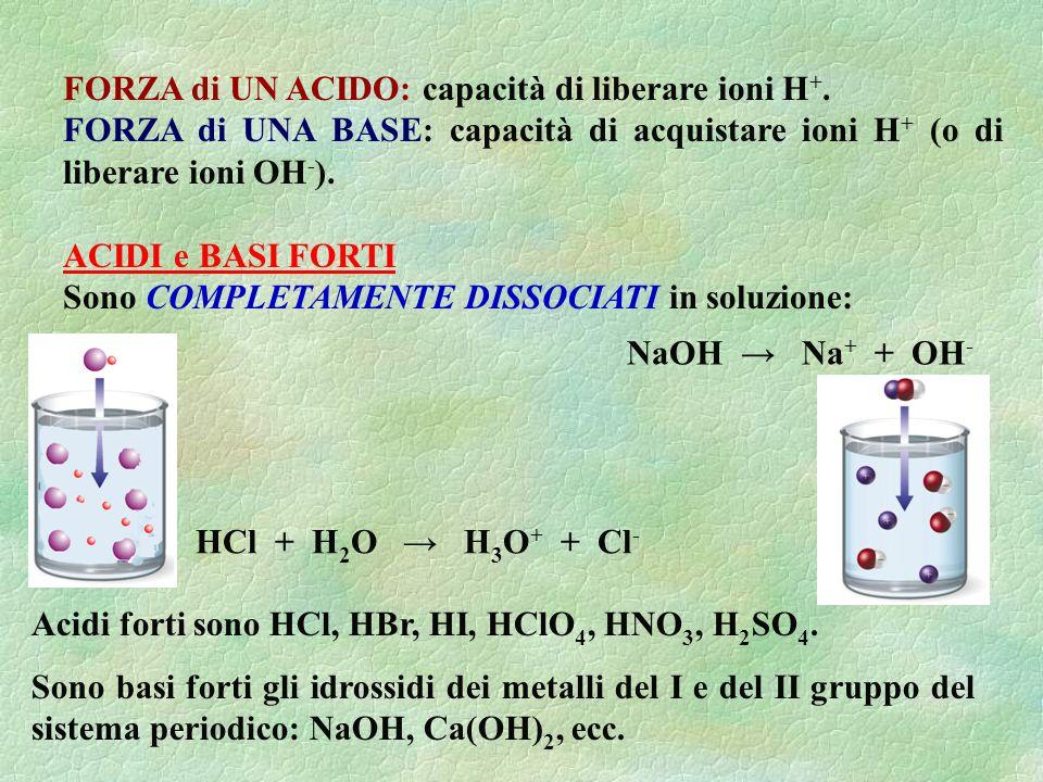 FORZA di UN ACIDO: capacità di liberare ioni H +. FORZA di UNA BASE: capacità di acquistare ioni H + (o di liberare ioni OH - ). ACIDI e BASI FORTI So