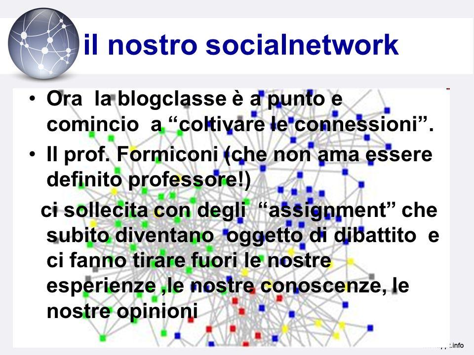 il nostro socialnetwork Ora la blogclasse è a punto e comincio a coltivare le connessioni.