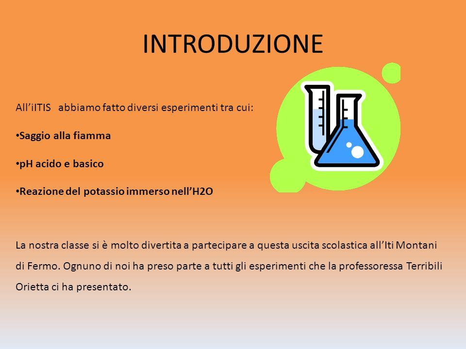 INTRODUZIONE AlliITIS abbiamo fatto diversi esperimenti tra cui: Saggio alla fiamma pH acido e basico Reazione del potassio immerso nellH2O La nostra