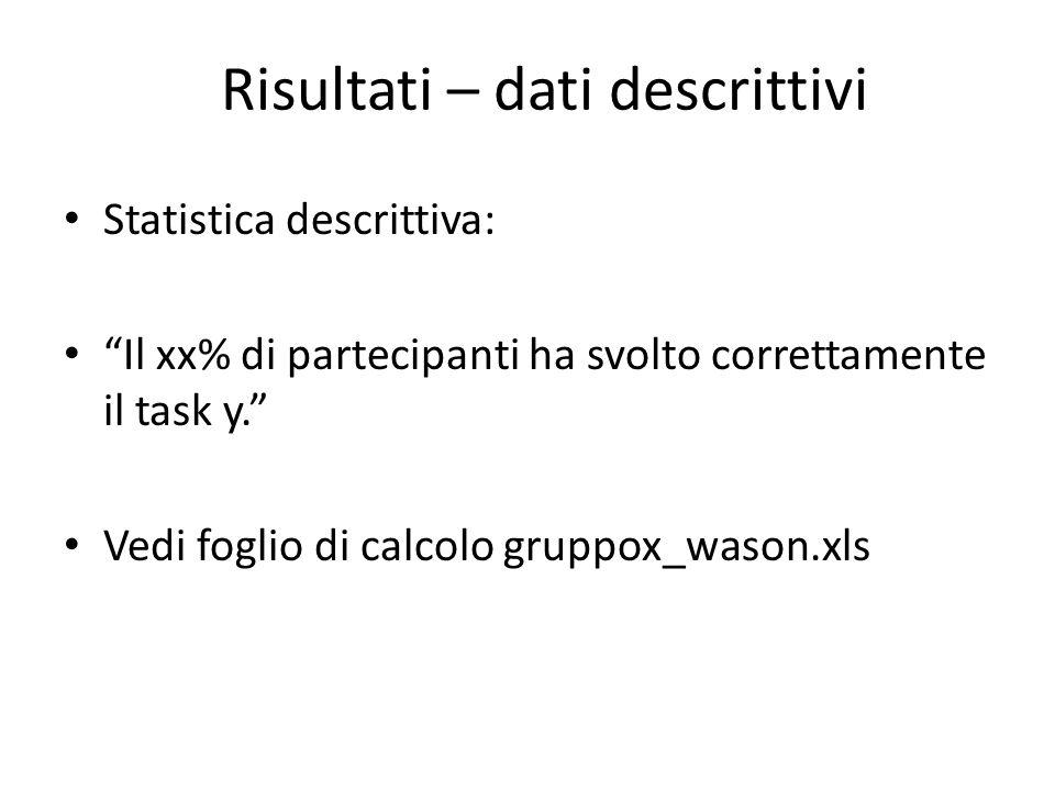 Statistica descrittiva: Il xx% di partecipanti ha svolto correttamente il task y.