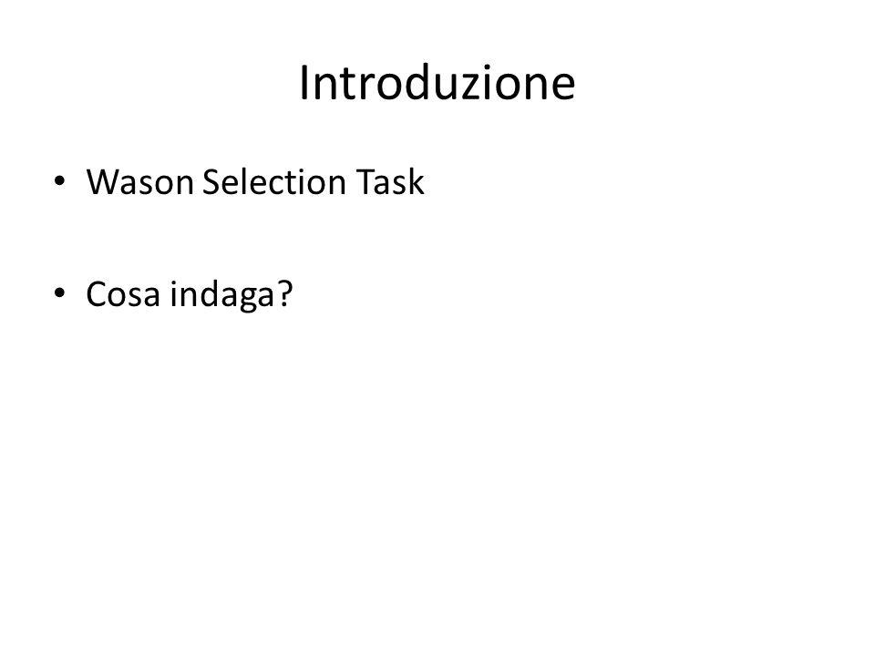 Introduzione Wason Selection Task Cosa indaga?