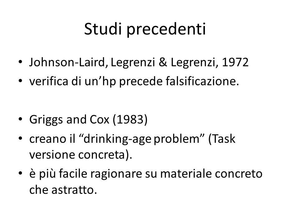 Studi precedenti Johnson-Laird, Legrenzi & Legrenzi, 1972 verifica di unhp precede falsificazione.