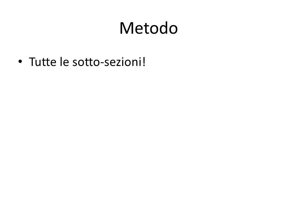 Metodo Tutte le sotto-sezioni!