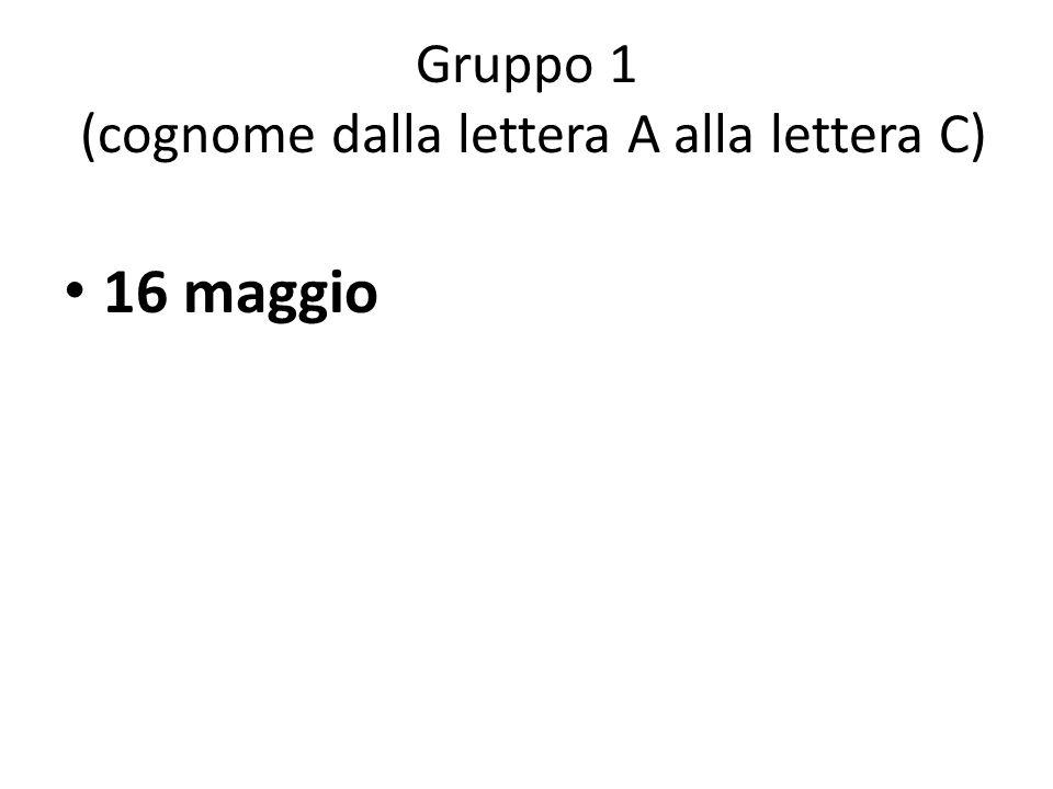 Gruppo 1 (cognome dalla lettera A alla lettera C) 16 maggio