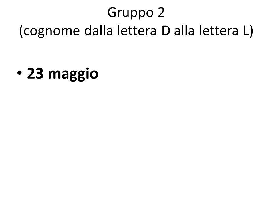 Gruppo 3 (cognome dalla lettera M alla lettera Q) 20 maggio