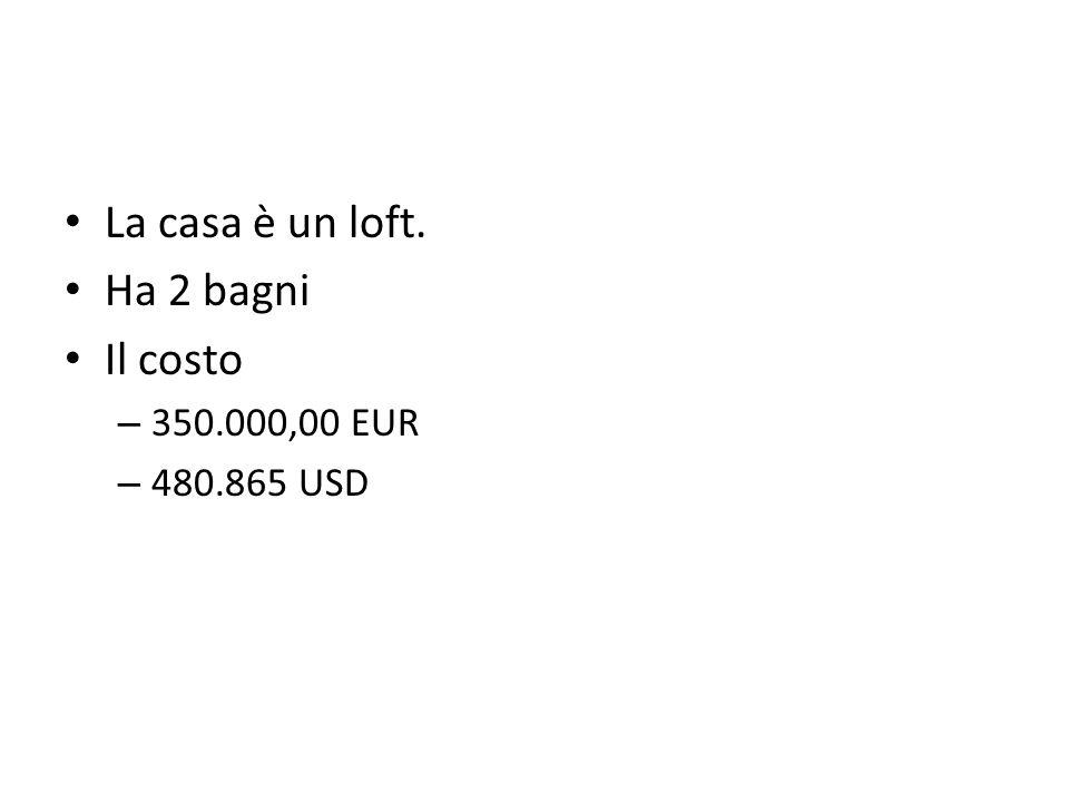 La casa è un loft. Ha 2 bagni Il costo – 350.000,00 EUR – 480.865 USD