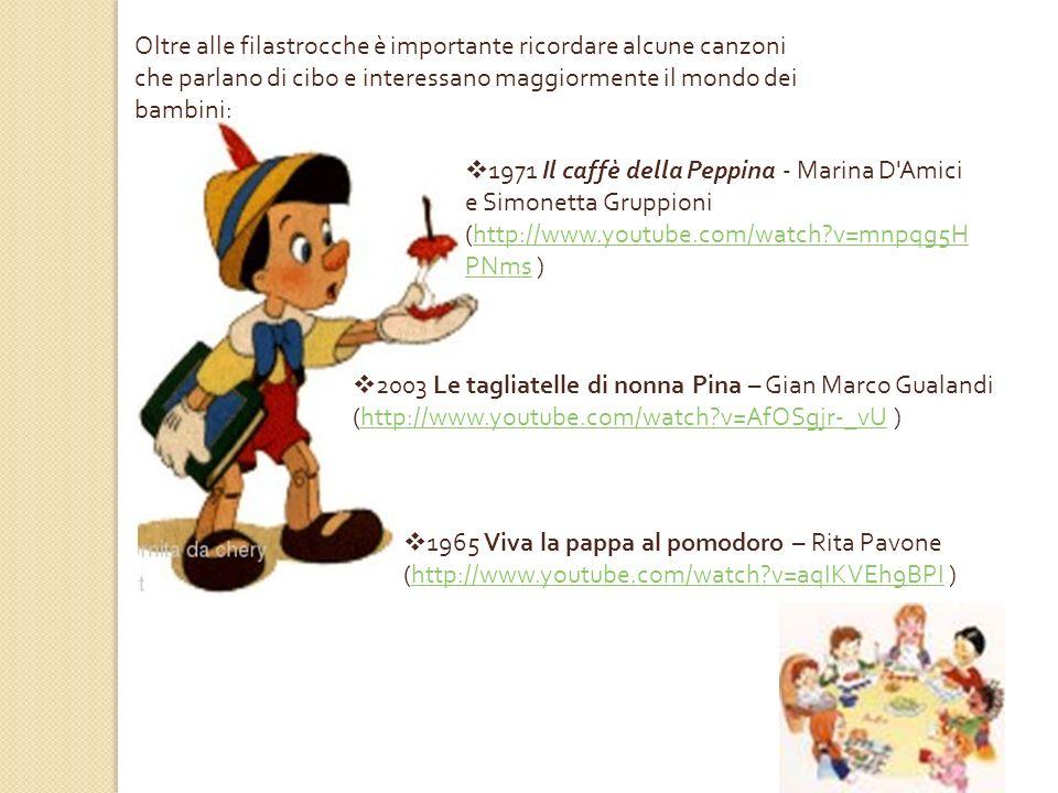 1977 Ma che bontà – Mina (http://www.youtube.com/watch?v= VIpc9mv2oqs )http://www.youtube.com/watch?v= VIpc9mv2oqs Tralasciando il mondo dei bambini, esistono numerose canzoni che parlano di cibo: 1968 Spaghetti a Detroit - Fred Bongusto (http://www.youtube.com/watch?v=rn L_SuayuTE )http://www.youtube.com/watch?v=rn L_SuayuTE 1991 Crawfish - Elvis Presley (http://www.youtube.com/watch ?v=EK4_U-nmXyc )http://www.youtube.com/watch ?v=EK4_U-nmXyc 1971 Supermarket - Lucio Battisti (http://www.youtube.com/watch?v=7 27xeGbHim0 )http://www.youtube.com/watch?v=7 27xeGbHim0 1998 Pomodori - Gino Paoli (http://www.youtube.com/watch?v=727xeGbHi m0 )http://www.youtube.com/watch?v=727xeGbHi m0