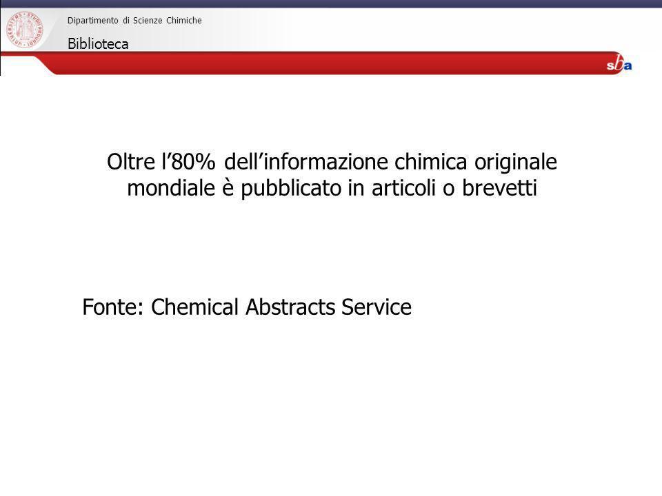 27/04/2009 Dipartimento di Scienze Chimiche Biblioteca Oltre l80% dellinformazione chimica originale mondiale è pubblicato in articoli o brevetti Font
