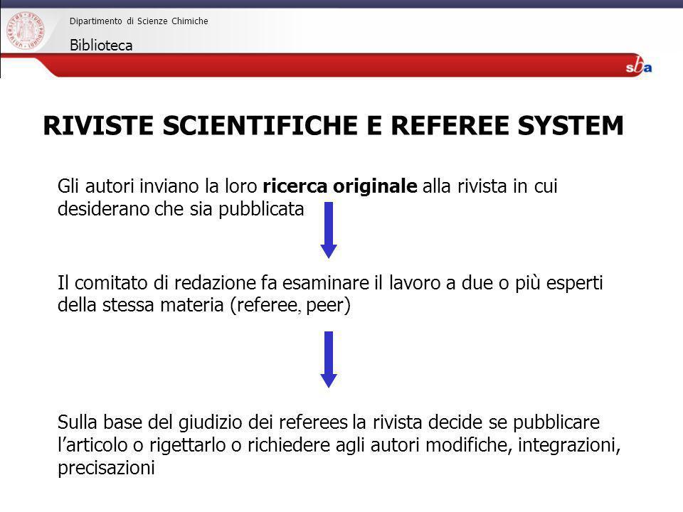 27/04/2009 Dipartimento di Scienze Chimiche Biblioteca Gli autori inviano la loro ricerca originale alla rivista in cui desiderano che sia pubblicata