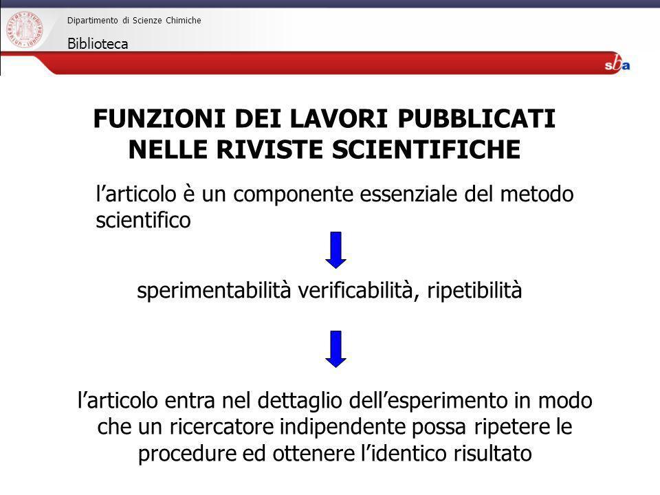 27/04/2009 Dipartimento di Scienze Chimiche Biblioteca larticolo è un componente essenziale del metodo scientifico sperimentabilità verificabilità, ri