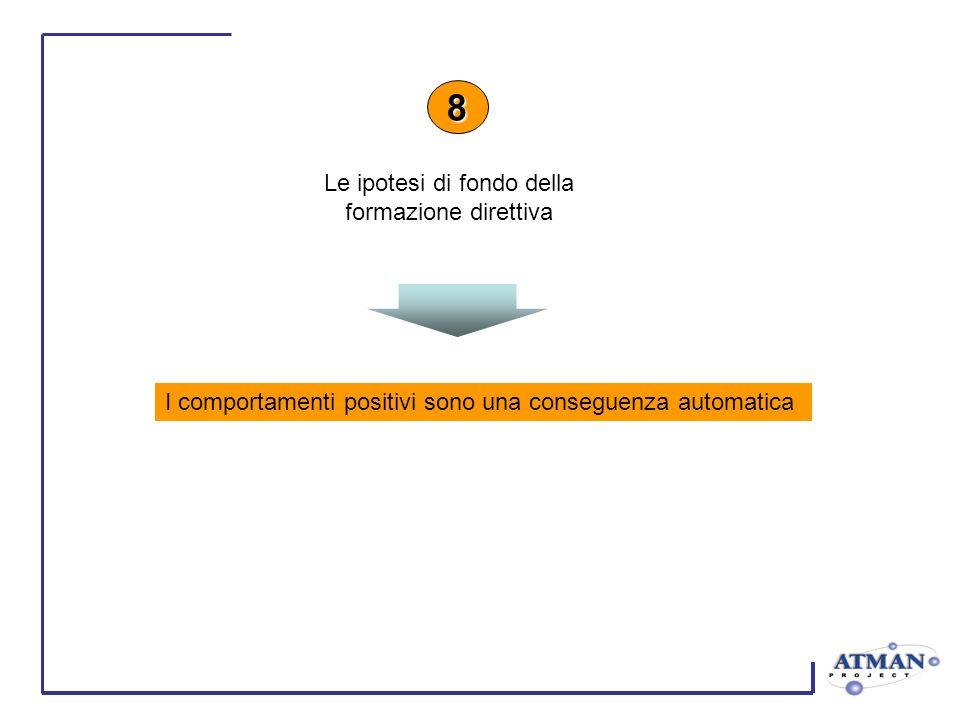 I comportamenti positivi sono una conseguenza automatica 8 Le ipotesi di fondo della formazione direttiva