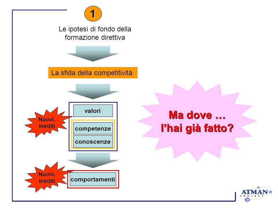 La sfida della competitività 1 valori competenze conoscenze Nuovi, inediti comportamenti Nuovi, inediti Ma dove … lhai già fatto? Le ipotesi di fondo