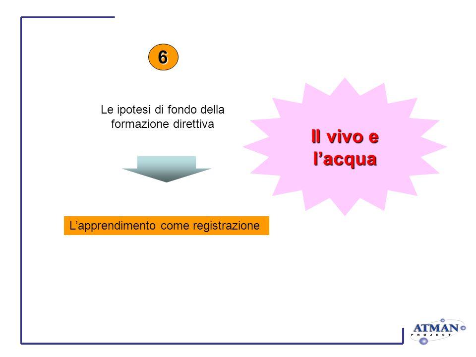 Lapprendimento come registrazione 6 Le ipotesi di fondo della formazione direttiva Il vivo e lacqua