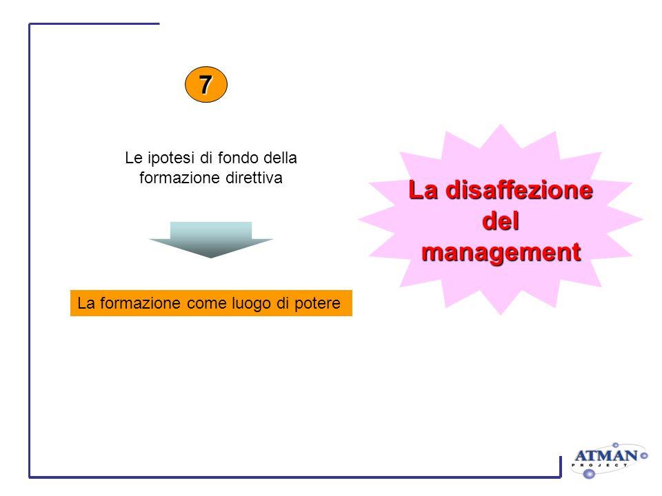 La formazione come luogo di potere 7 Le ipotesi di fondo della formazione direttiva La disaffezione delmanagement