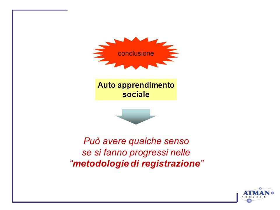 Auto apprendimento sociale Può avere qualche senso se si fanno progressi nelle metodologie di registrazione conclusione