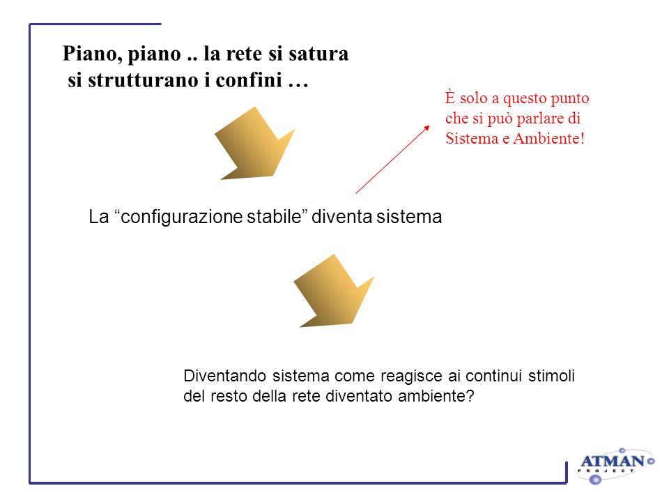 Piano, piano.. la rete si satura si strutturano i confini … La configurazione stabile diventa sistema Diventando sistema come reagisce ai continui sti
