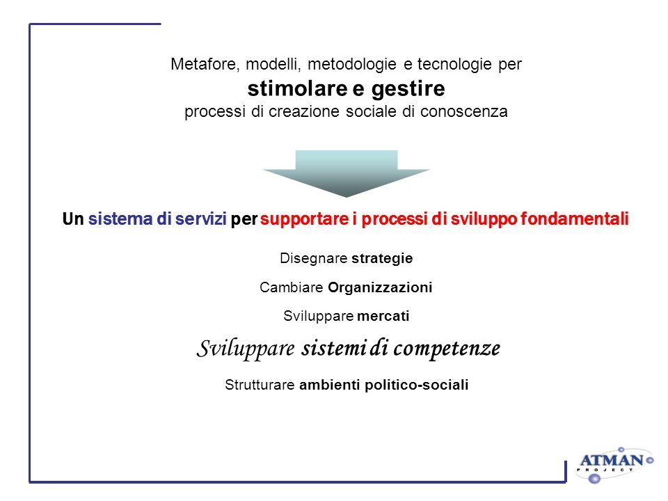 Un sistema di servizi per supportare i processi di sviluppo fondamentali Sviluppare mercati Strutturare ambienti politico-sociali Disegnare strategie