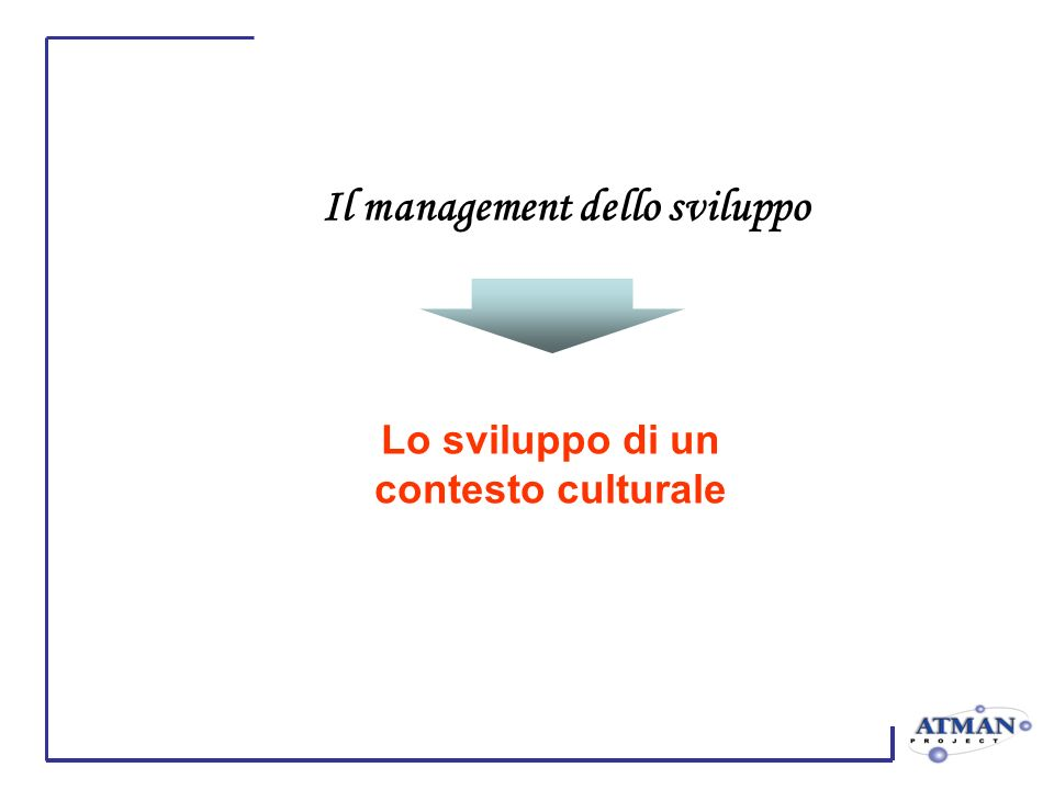 Il management dello sviluppo Lo sviluppo di un contesto culturale