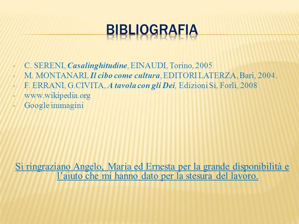 C. SERENI, Casalinghitudine, EINAUDI, Torino, 2005 M. MONTANARI, Il cibo come cultura, EDITORI LATERZA, Bari, 2004. F. ERRANI, G.CIVITA, A tavola con