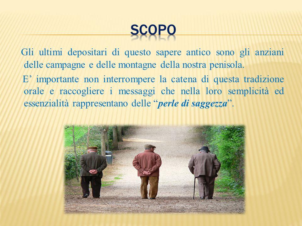 Si sono raccolti proverbi della zona della campagna spoletina attraverso le interviste di tre persone anziane, due donne ed un uomo, ultraottantenni, di cui una casalinga e due contadini ancora in attività.