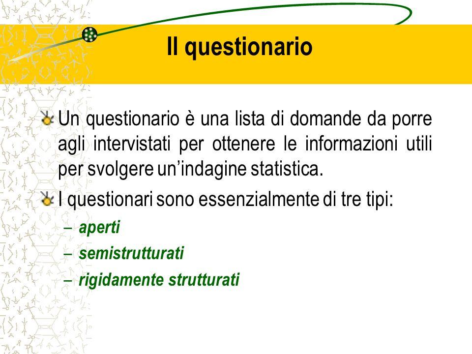 Il questionario Un questionario è una lista di domande da porre agli intervistati per ottenere le informazioni utili per svolgere unindagine statistic