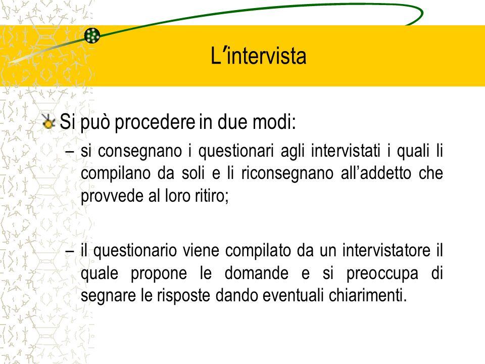 L intervista Si può procedere in due modi: –si consegnano i questionari agli intervistati i quali li compilano da soli e li riconsegnano alladdetto ch