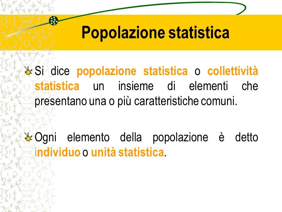 Popolazione statistica Si dice popolazione statistica o collettività statistica un insieme di elementi che presentano una o più caratteristiche comuni