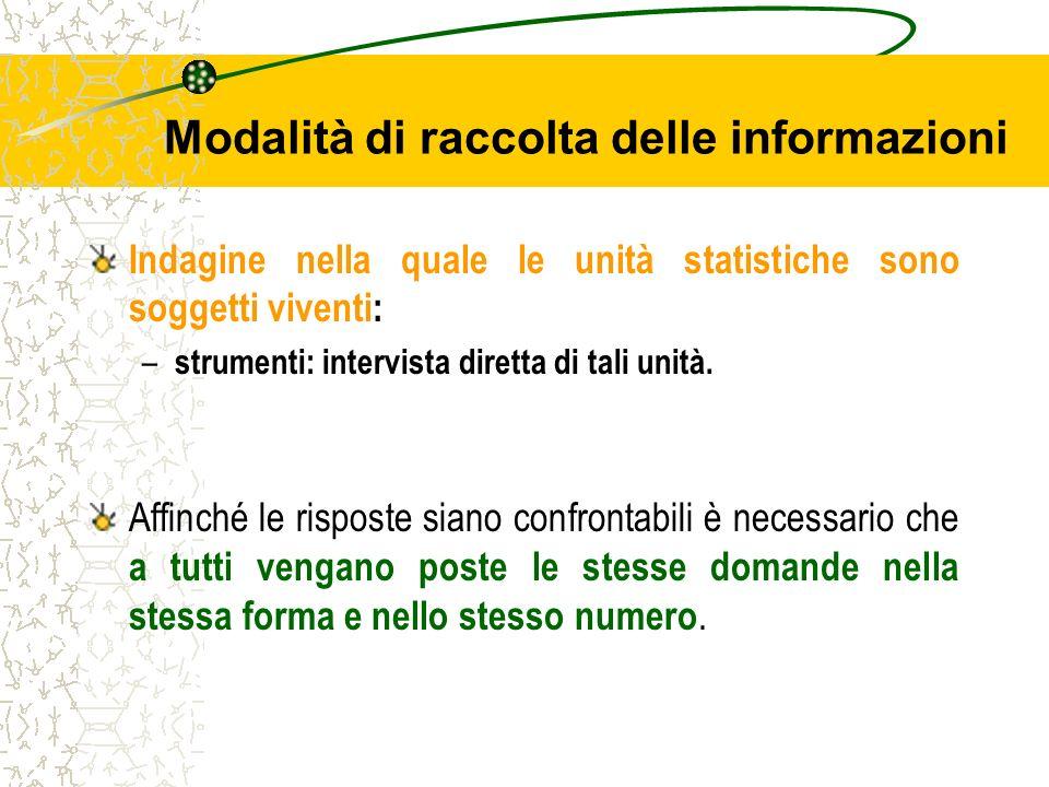 Modalità di raccolta delle informazioni Indagine nella quale le unità statistiche sono soggetti viventi: – strumenti: intervista diretta di tali unità
