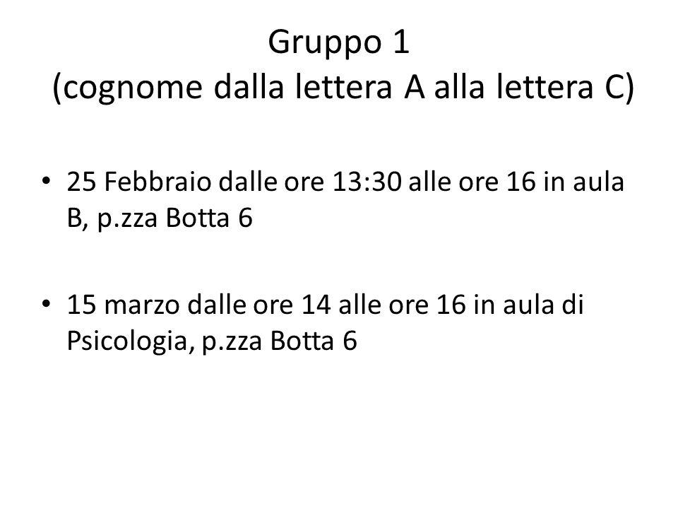Gruppo 2 (cognome dalla lettera D alla lettera L) 4 marzo dalle ore 13:30 alle ore 16 in aula B, p.zza Botta 6 18 marzo dalle ore 14 alle ore 16 in aula B, p.zza Botta 6