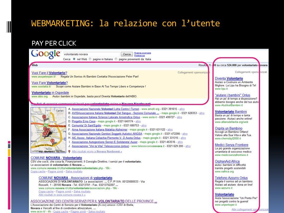 WEBMARKETING: la relazione con lutente PAY PER CLICK