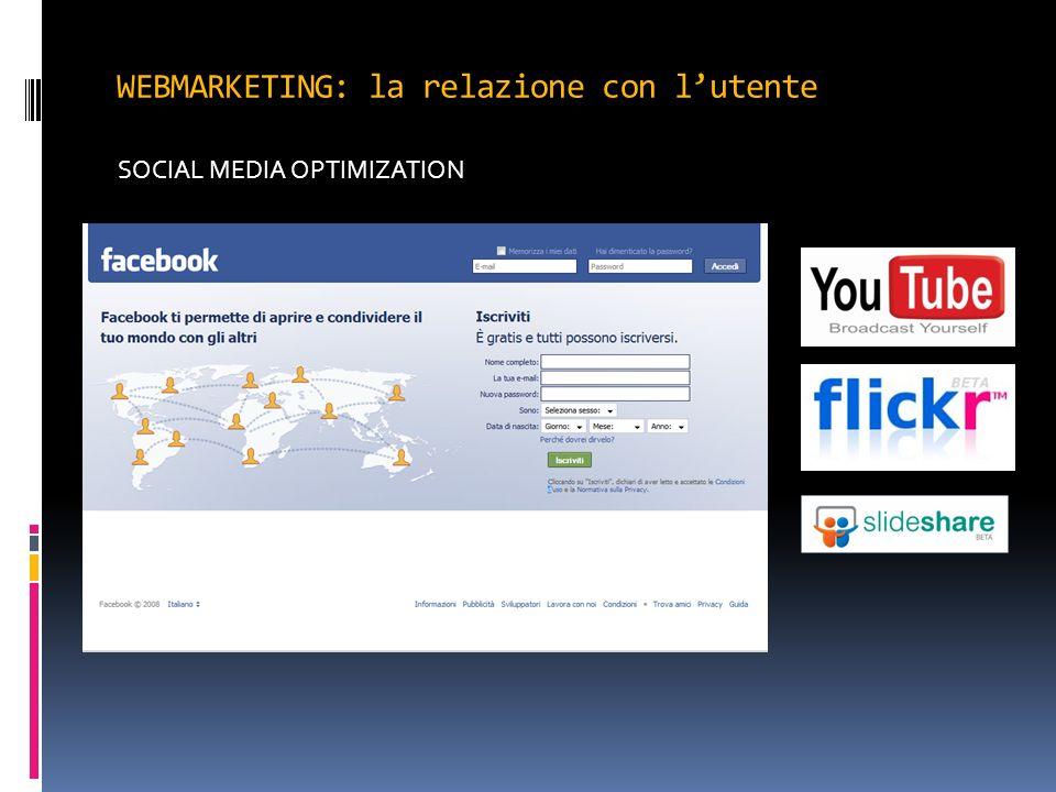WEBMARKETING: la relazione con lutente SOCIAL MEDIA OPTIMIZATION