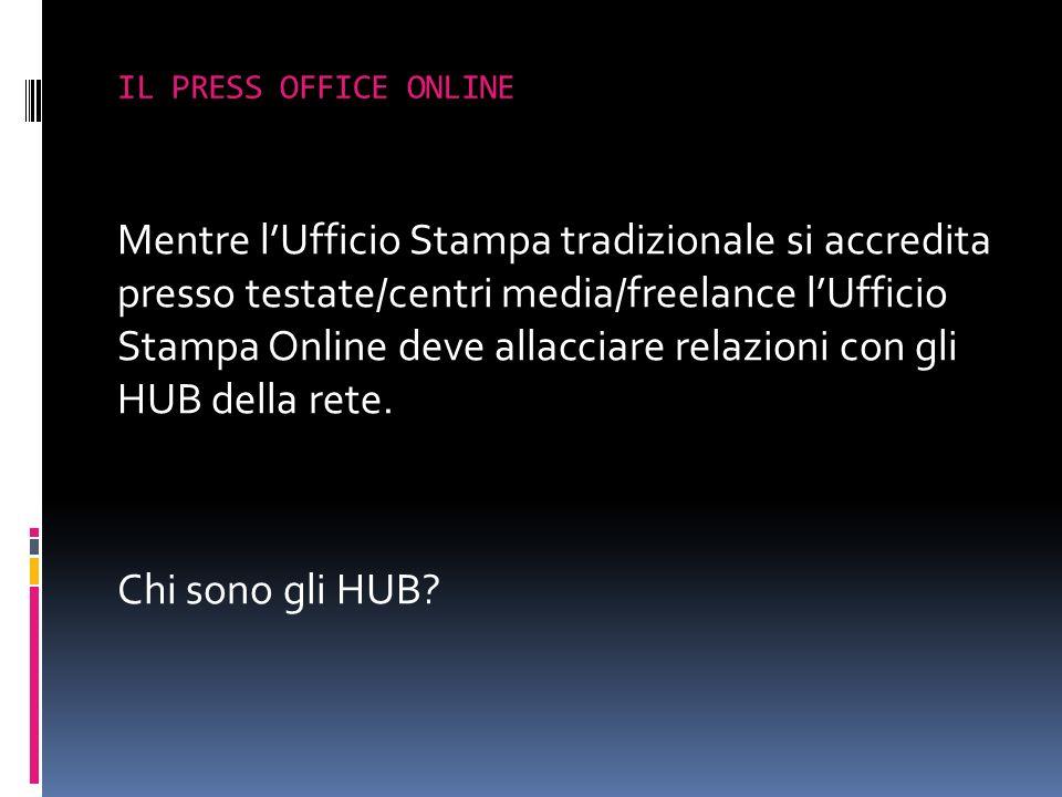 Mentre lUfficio Stampa tradizionale si accredita presso testate/centri media/freelance lUfficio Stampa Online deve allacciare relazioni con gli HUB de