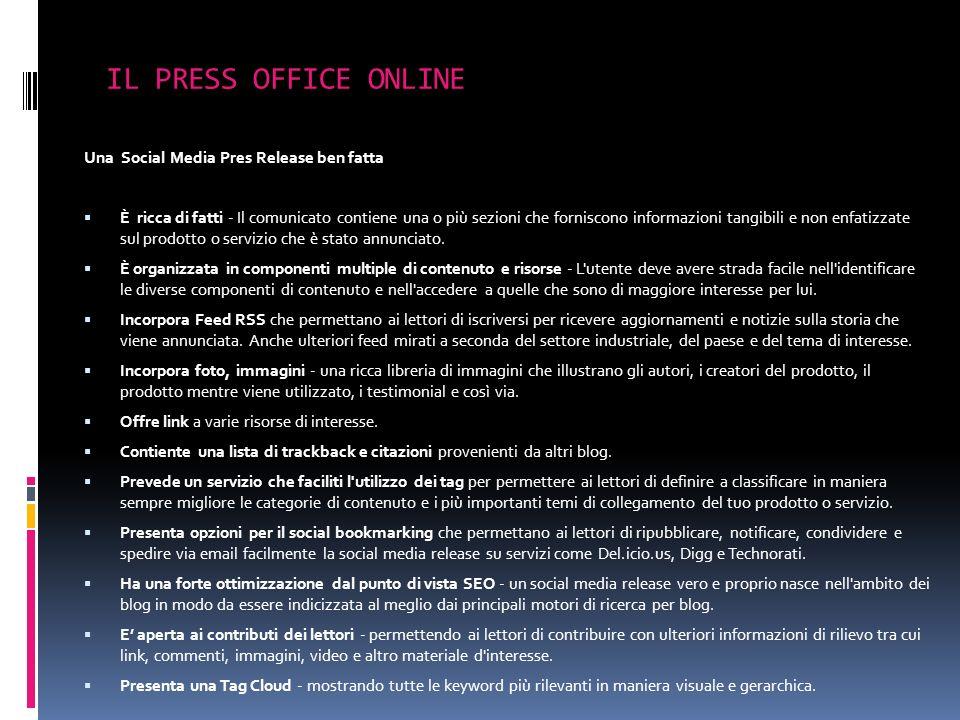 Una Social Media Pres Release ben fatta È ricca di fatti - Il comunicato contiene una o più sezioni che forniscono informazioni tangibili e non enfati