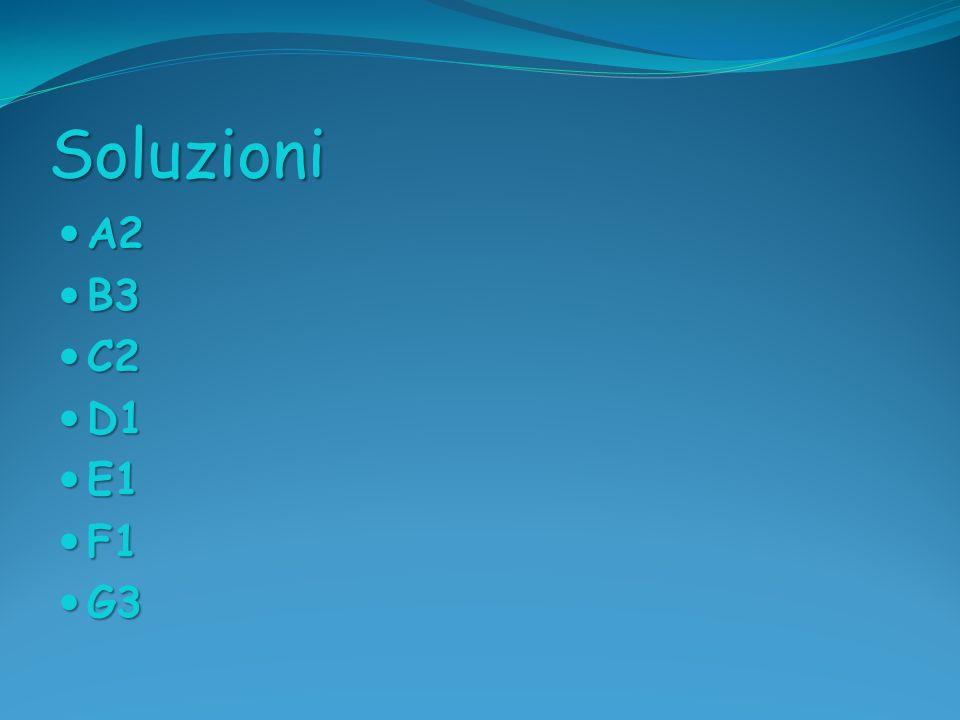 Soluzioni A2 A2 B3 B3 C2 C2 D1 D1 E1 E1 F1 F1 G3 G3