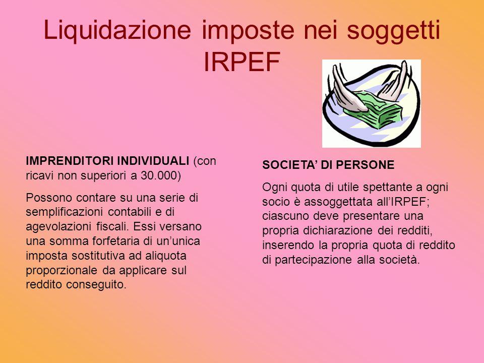 Liquidazione imposte nei soggetti IRPEF IMPRENDITORI INDIVIDUALI (con ricavi non superiori a 30.000) Possono contare su una serie di semplificazioni contabili e di agevolazioni fiscali.