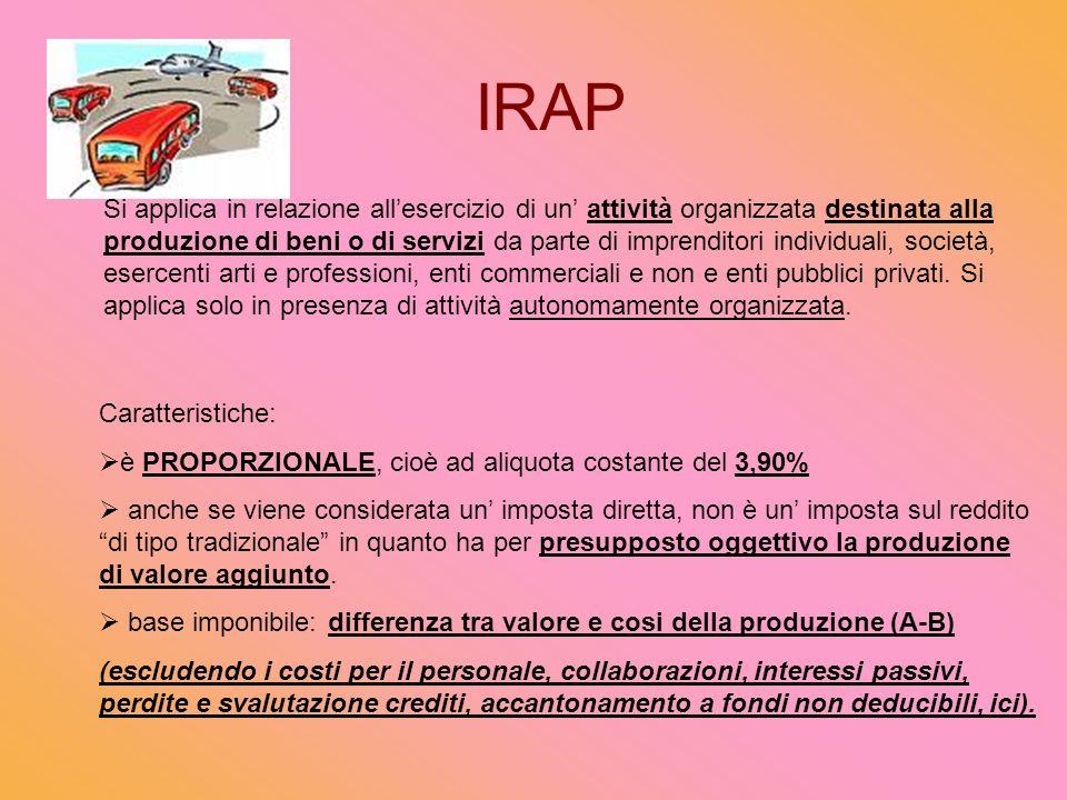 IRAP Si applica in relazione allesercizio di un attività organizzata destinata alla produzione di beni o di servizi da parte di imprenditori individuali, società, esercenti arti e professioni, enti commerciali e non e enti pubblici privati.