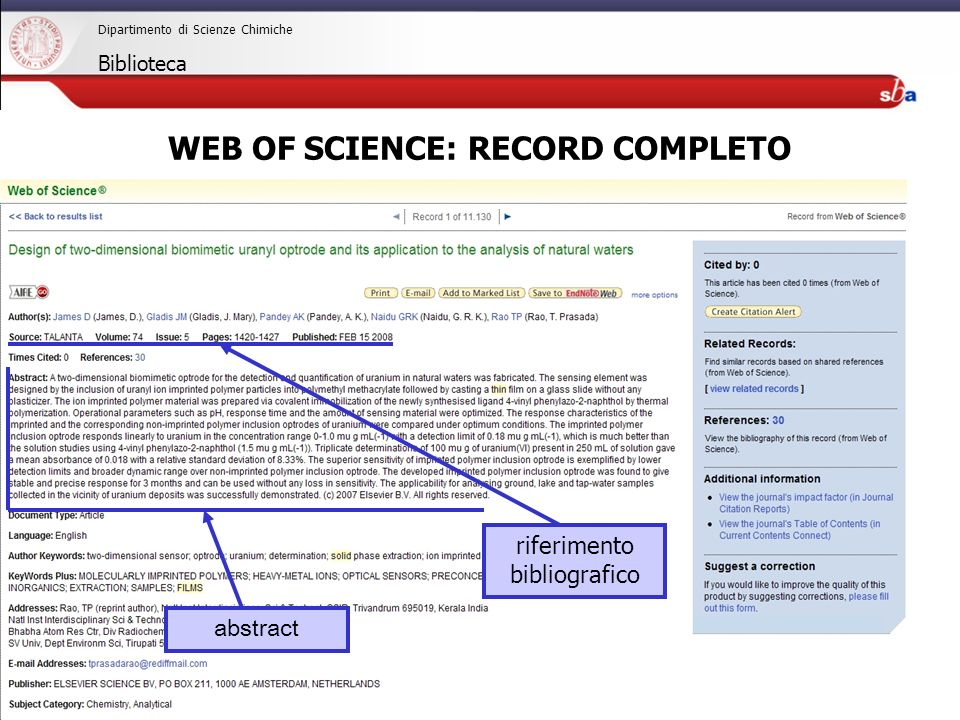 27/04/2009 Dipartimento di Scienze Chimiche Biblioteca riferimento bibliografico abstract WEB OF SCIENCE: RECORD COMPLETO