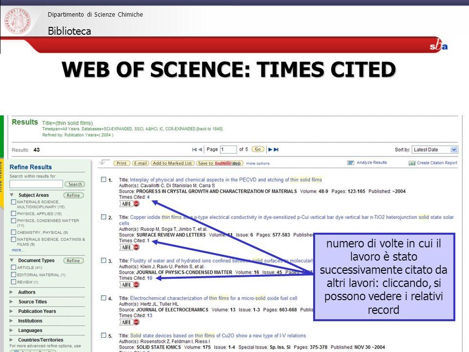 27/04/2009 Dipartimento di Scienze Chimiche Biblioteca WEB OF SCIENCE: TIMES CITED numero di volte in cui il lavoro è stato successivamente citato da altri lavori: cliccando, si possono vedere i relativi record