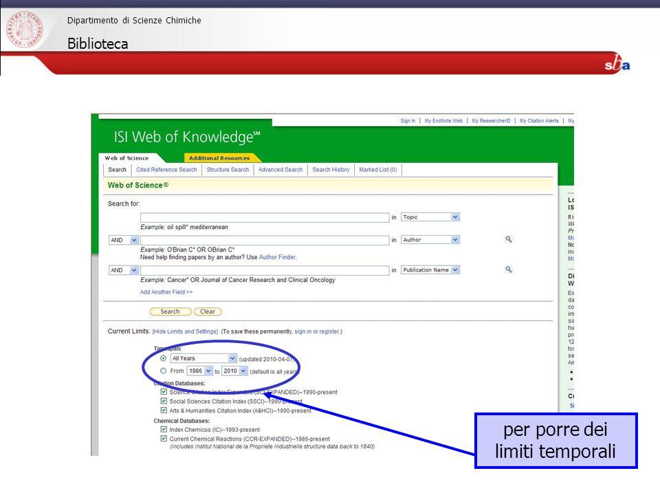 27/04/2009 Dipartimento di Scienze Chimiche Biblioteca WEB OF SCIENCE tipi di lavori presenti nei risultati