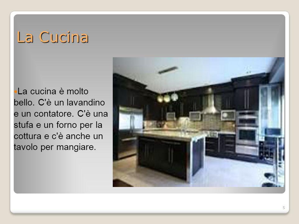 5 La Cucina La cucina è molto bello. C è un lavandino e un contatore.