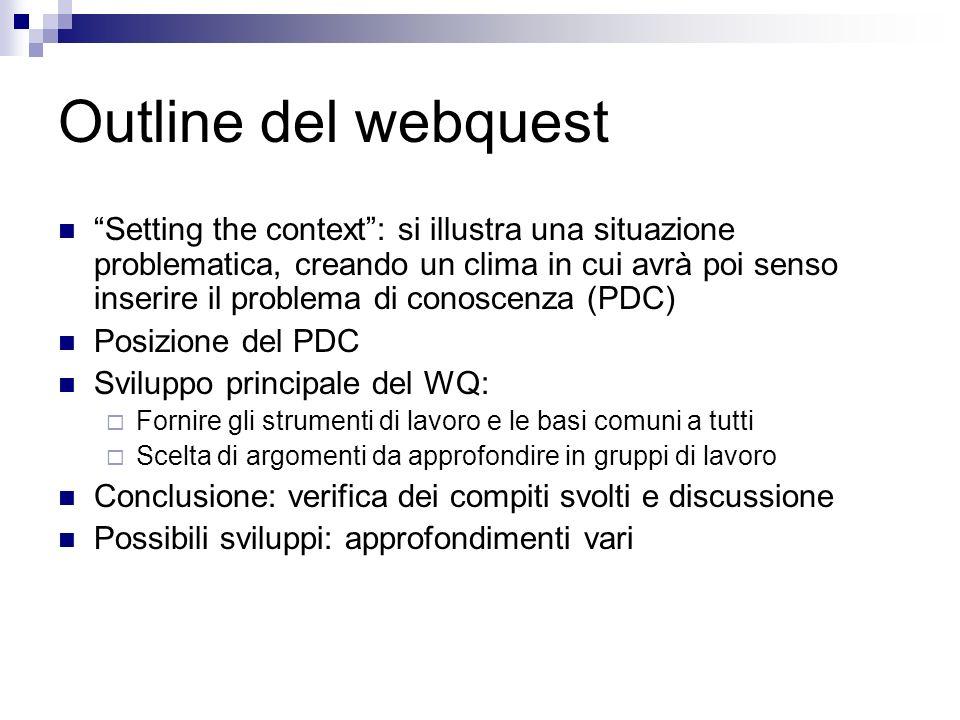 Outline del webquest Setting the context: si illustra una situazione problematica, creando un clima in cui avrà poi senso inserire il problema di cono