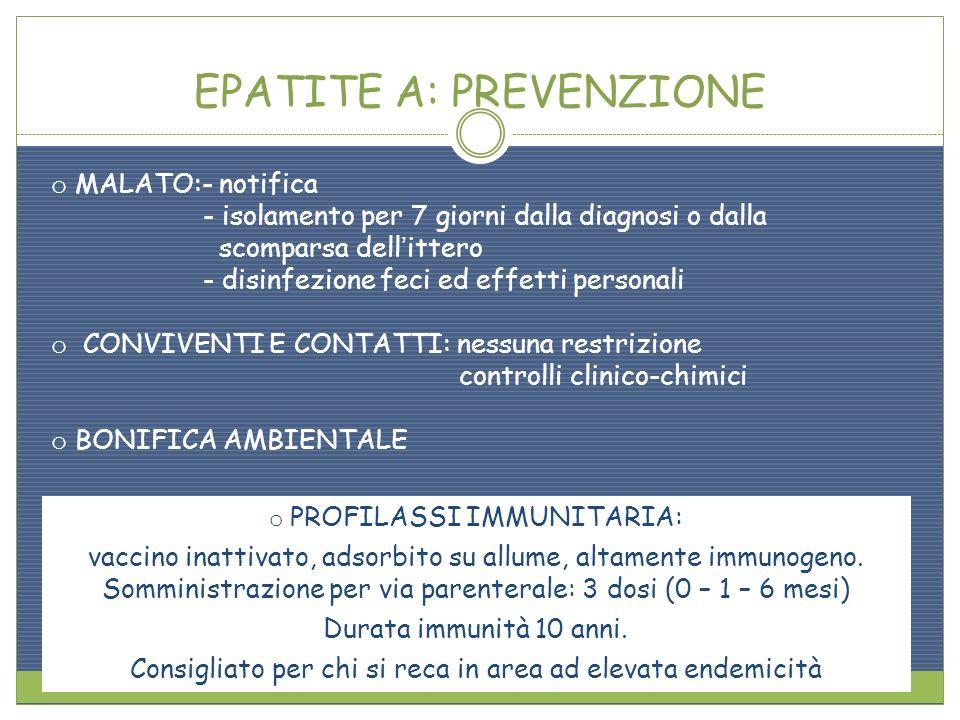 EPATITE A: PREVENZIONE o MALATO:- notifica - isolamento per 7 giorni dalla diagnosi o dalla scomparsa dellittero - disinfezione feci ed effetti person