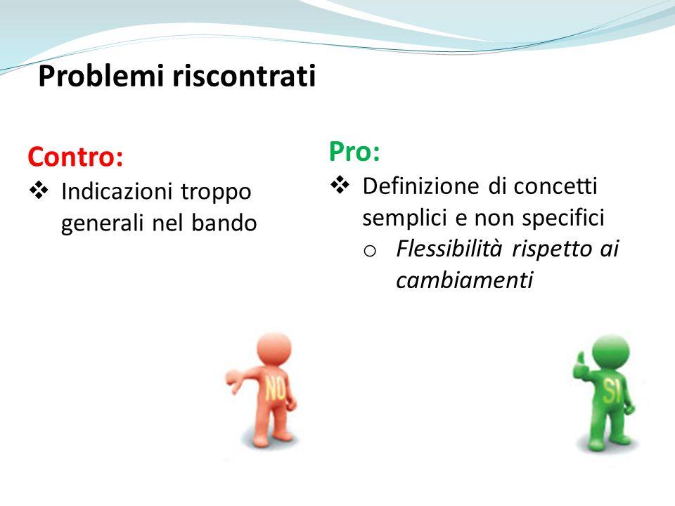 Problemi riscontrati Contro: Indicazioni troppo generali nel bando Pro: Definizione di concetti semplici e non specifici o Flessibilità rispetto ai ca